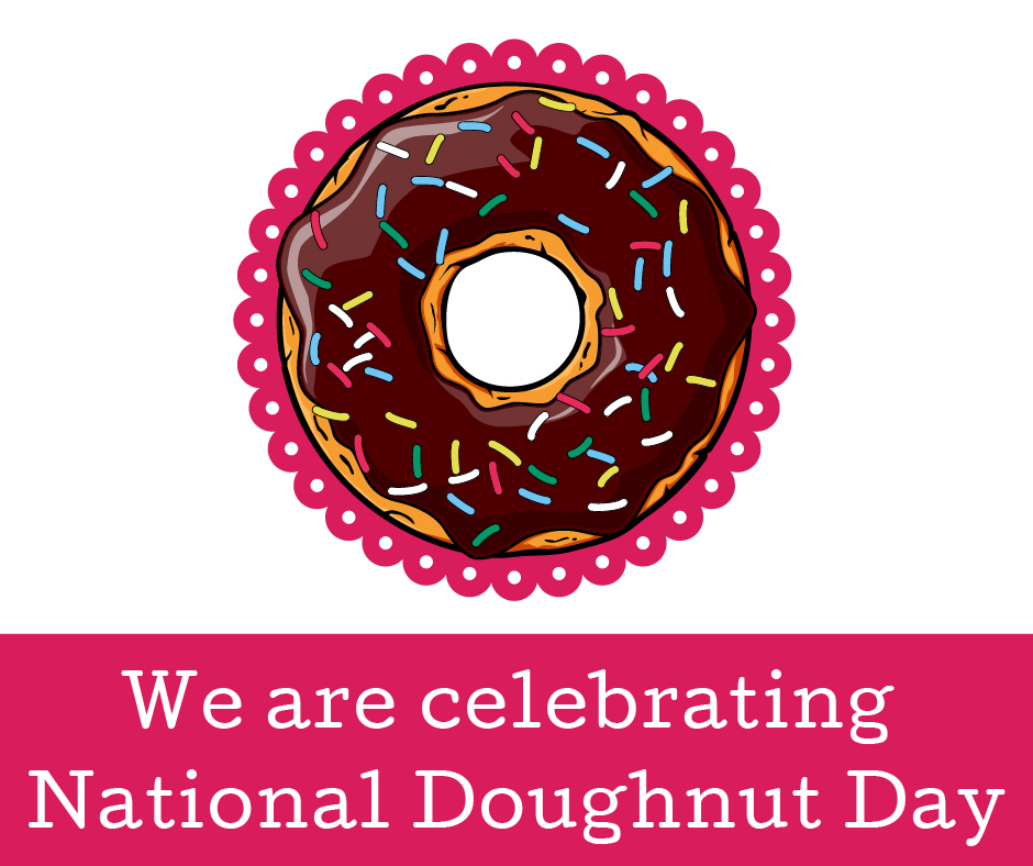 """Chocolate doughnut with sprinkles with bright pink background and words saying """"We are celebrating National Doughnut Day"""""""