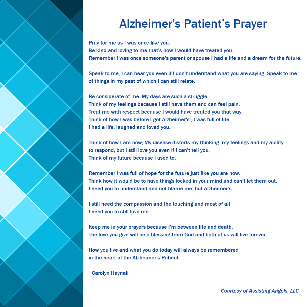 A prayer written for the Alzheimer's Patient