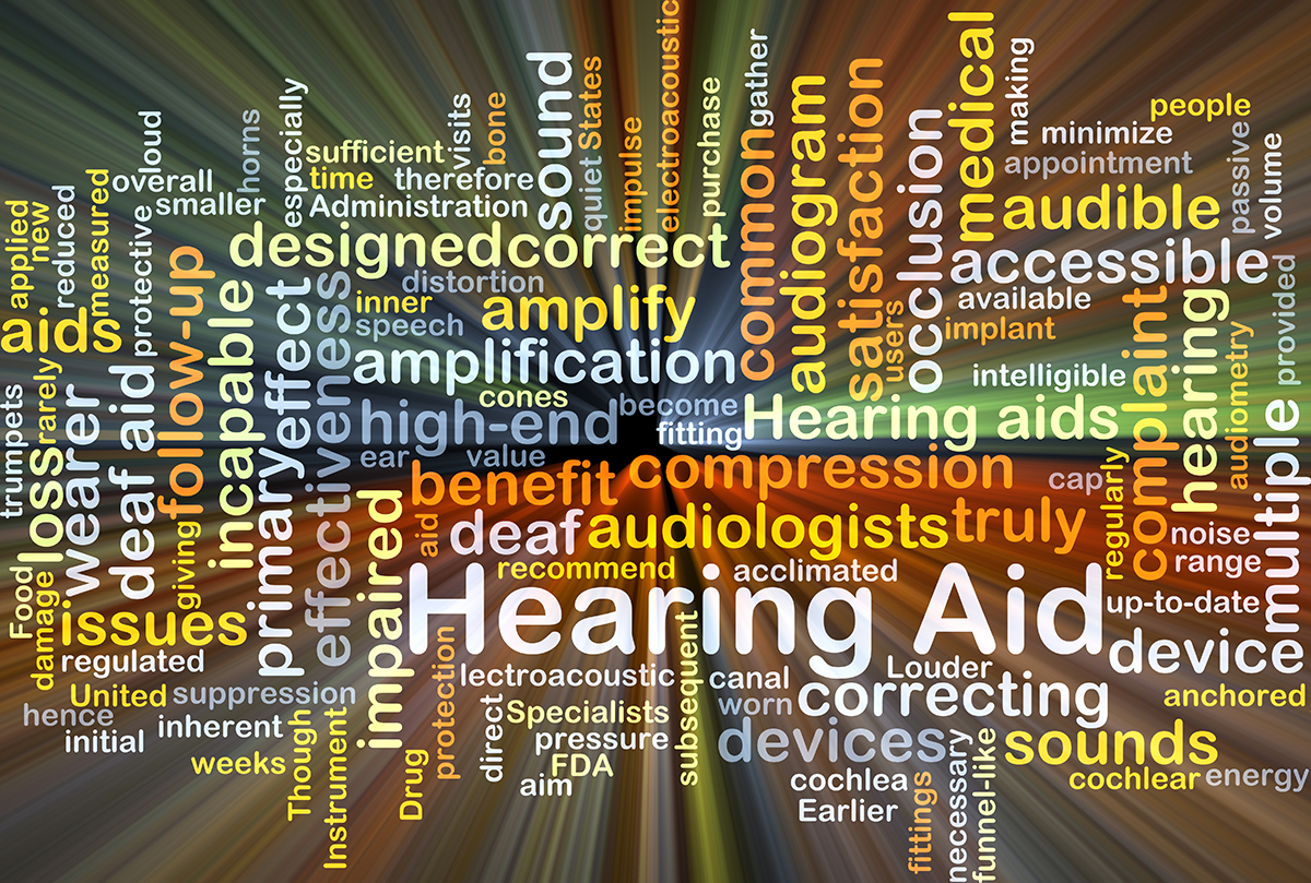Colorful word cloud related to hearing loss and hearing aids.