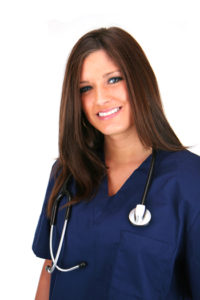 Young, pretty, brunette with blue eyes caregiver with a stethoscope.